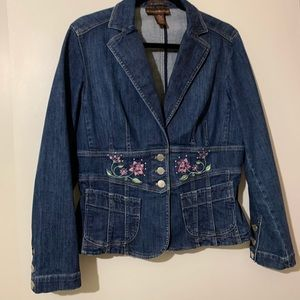 Bandolino embroidered blue jean jacket